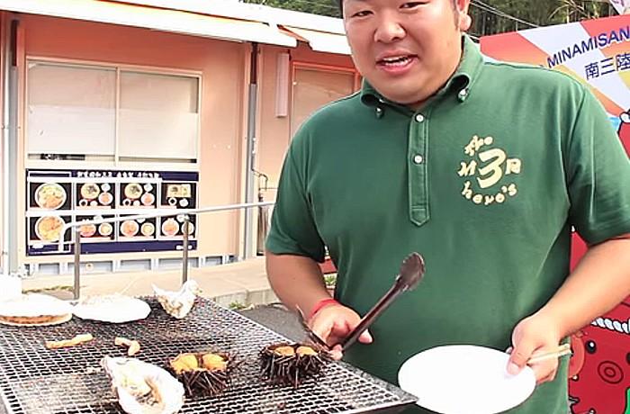 さんさんTV『グルメ南三陸』朝市編!!ホタテやウニが…の巻。