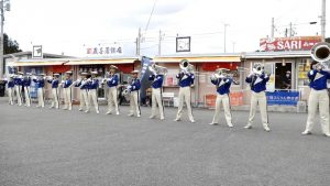 茨城県大洗高校・マーチングバンド「Blue Hawks」演奏会の様子。