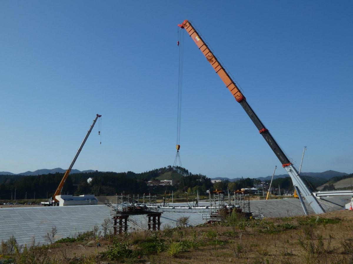 震災復興祈念公園にかかる中橋の工事状況!